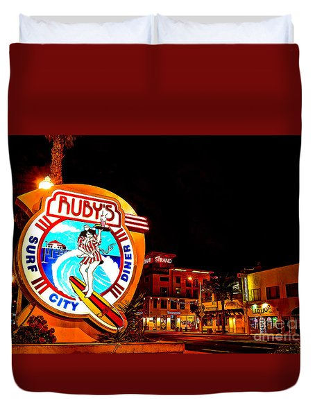 Huntington Beach Downtown Nightside 2 Duvet Cover