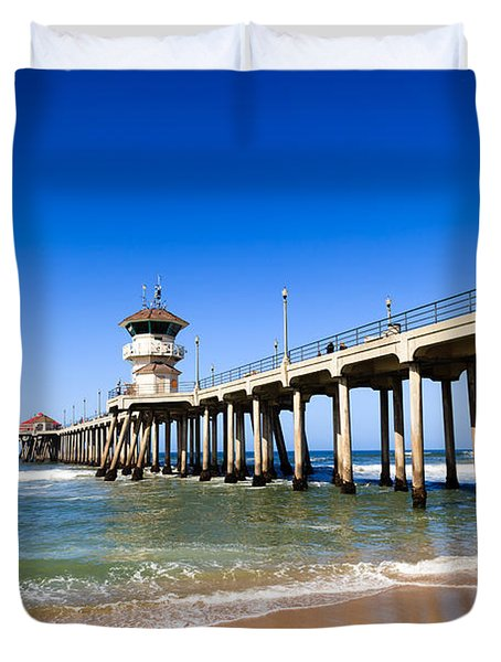 Huntington Beach Pier In Southern California Duvet Cover by Paul Velgos