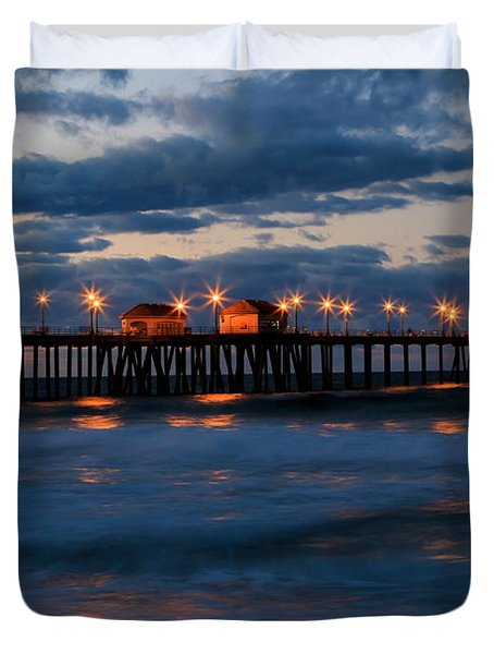 Huntington Beach Pier Lights  Duvet Cover by Duncan Selby