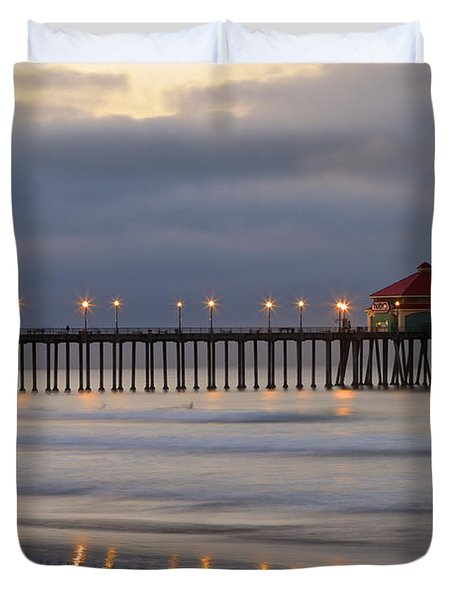 Huntington Beach Pier Morning Lights Duvet Cover