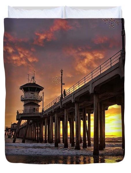 Huntington Beach Pier Duvet Cover by Peggy Hughes