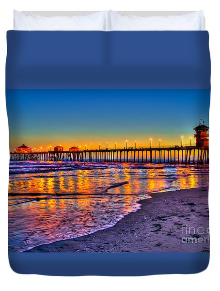Huntington Beach Pier Sundown Duvet Cover