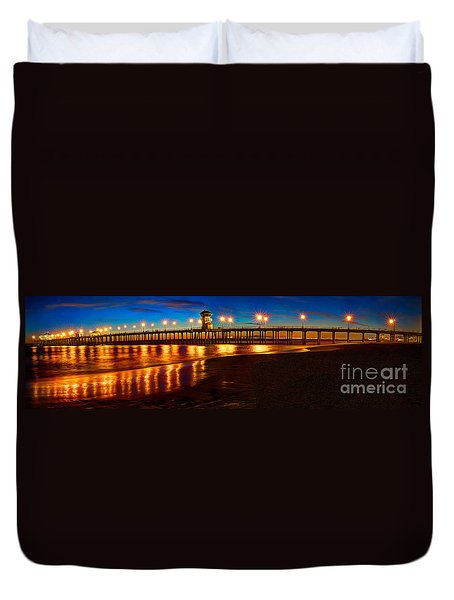 Huntington Beach Pier Twilight Panoramic Duvet Cover