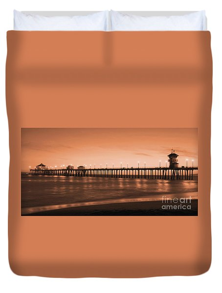 Huntington Beach Pier - Twilight Sepia Duvet Cover