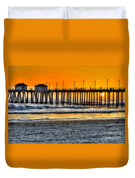 Huntington Beach Sunset Duvet Cover