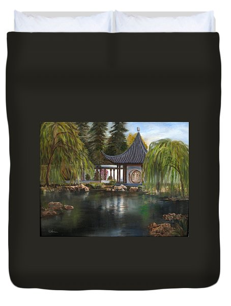 Duvet Cover featuring the painting Huntington Chinese Gardens by LaVonne Hand