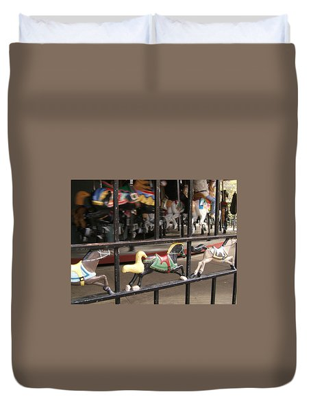 Duvet Cover featuring the photograph Hurry Hurry by Barbara McDevitt
