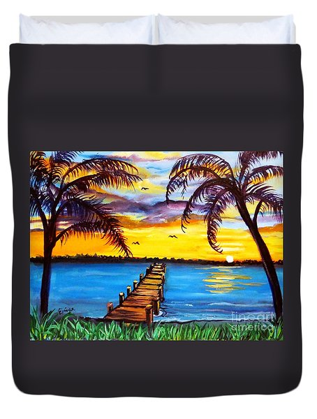Duvet Cover featuring the painting Hurry Sundown by Ecinja Art Works