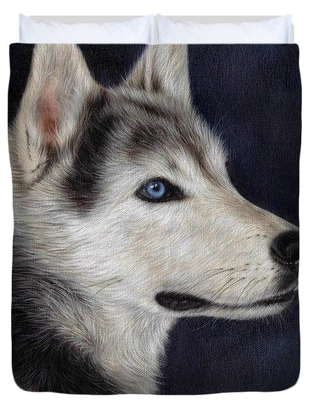 Husky Portrait Painting Duvet Cover