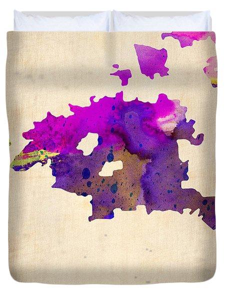 Huston Watercolor Map Duvet Cover by Naxart Studio