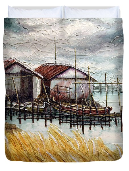 Huts By The Shore Duvet Cover