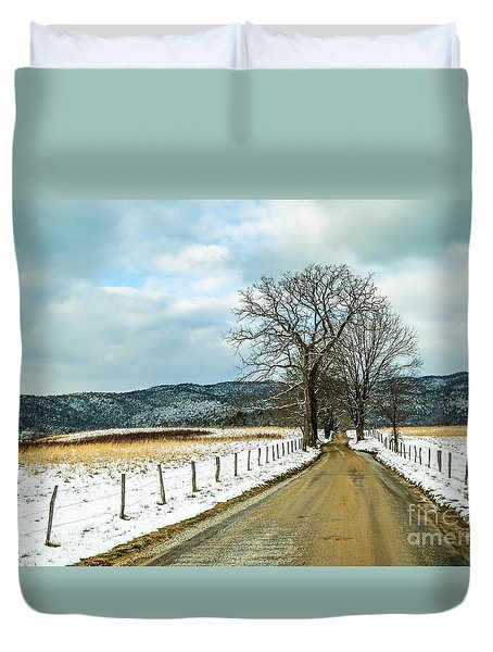 Hyatt Lane In Snow Duvet Cover by Debbie Green