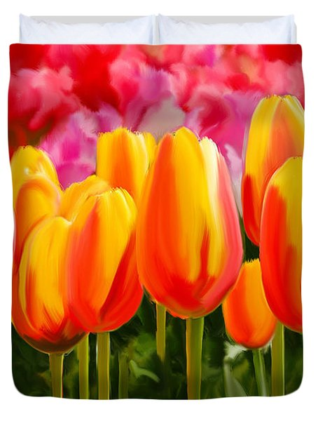 Duvet Cover featuring the painting Hybrid Tulips by Tim Gilliland