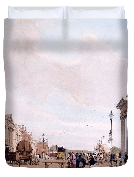 Hyde Park Corner, Looking Duvet Cover by Thomas Shotter Boys