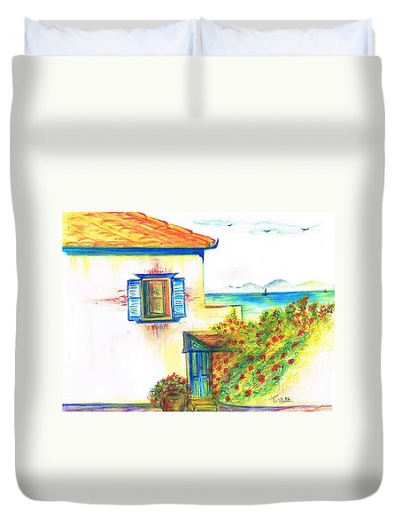 Duvet Cover featuring the painting Greek Island Hydra- Home by Teresa White