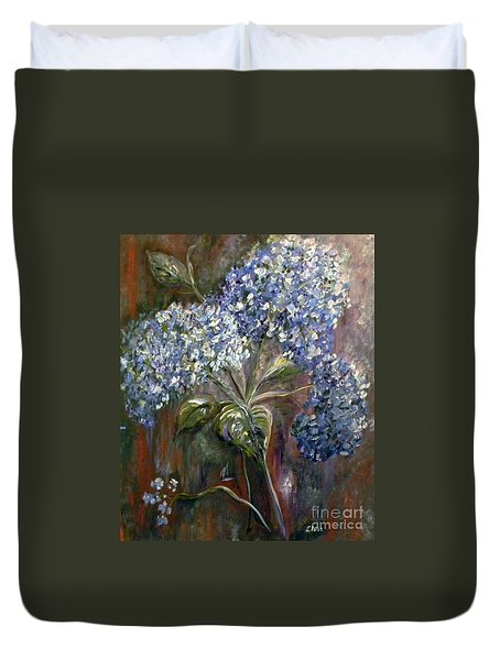 Duvet Cover featuring the painting Hydrangea Bouquet At Dawn by Eloise Schneider