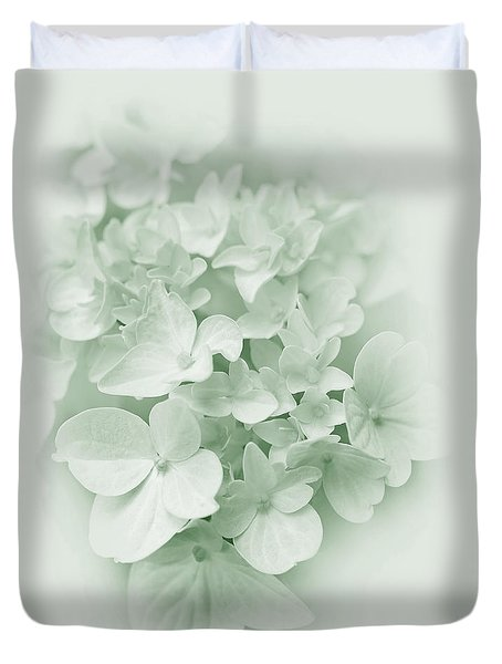 Duvet Cover featuring the photograph Hydrangea Flowers Green Pastel Delight by Jennie Marie Schell