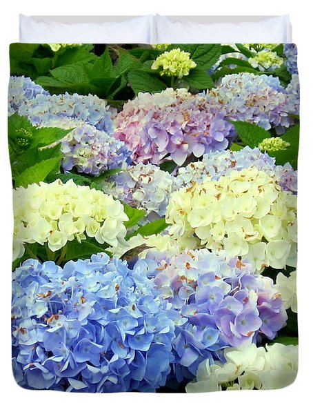 Duvet Cover featuring the photograph Hydrangea Mix by Margaret Newcomb