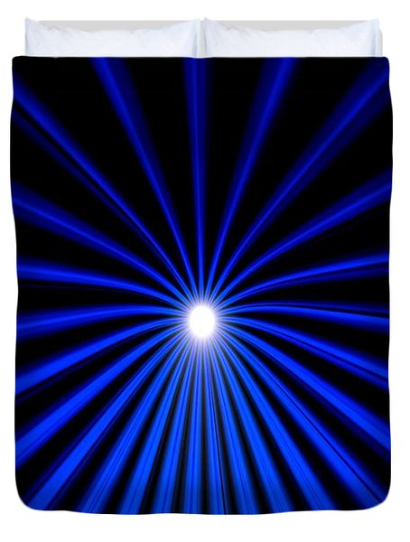 Duvet Cover featuring the painting Hyperspace Blue Landscape by Pet Serrano