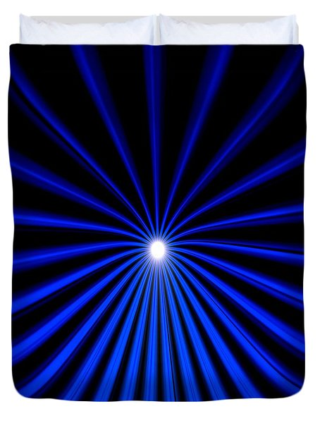 Duvet Cover featuring the painting Hyperspace Blue Square by Pet Serrano