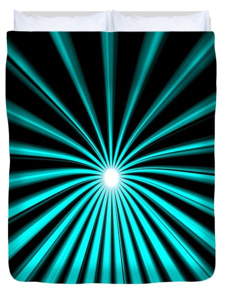 Duvet Cover featuring the painting Hyperspace Cyan Portrait by Pet Serrano