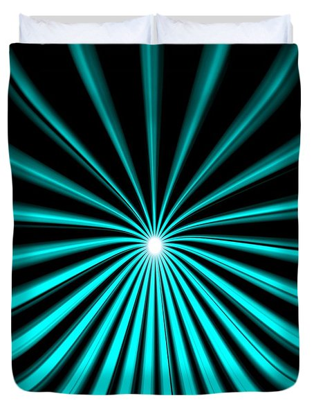 Duvet Cover featuring the painting Hyperspace Cyan Square by Pet Serrano
