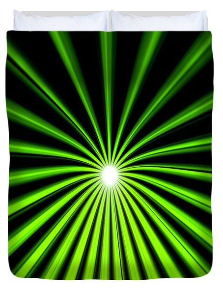 Duvet Cover featuring the painting Hyperspace Electric Green Portrait by Pet Serrano