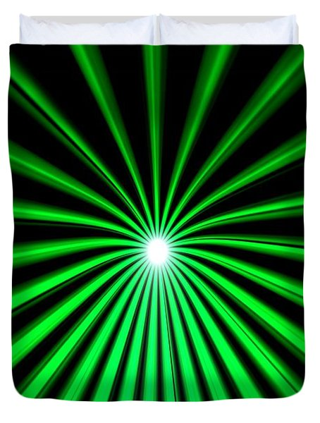 Duvet Cover featuring the painting Hyperspace Emerald Portrait by Pet Serrano