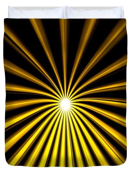 Duvet Cover featuring the painting Hyperspace Gold Landscape by Pet Serrano