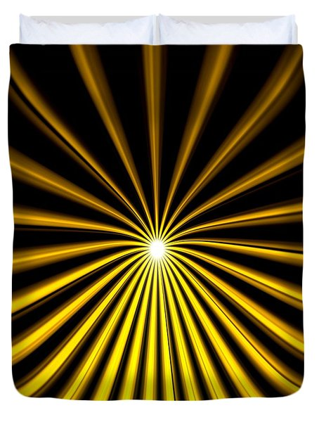 Duvet Cover featuring the painting Hyperspace Gold Square by Pet Serrano