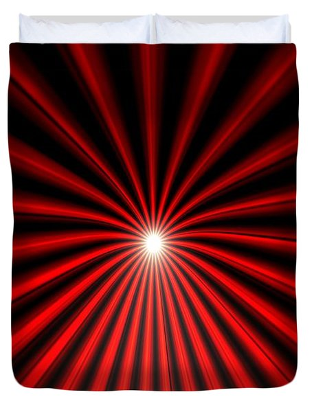 Duvet Cover featuring the painting Hyperspace Red Landscape by Pet Serrano
