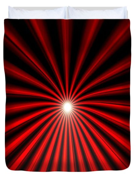 Duvet Cover featuring the painting Hyperspace Red Portrait by Pet Serrano