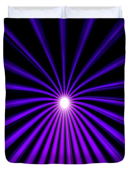 Duvet Cover featuring the painting Hyperspace Violet Portrait by Pet Serrano
