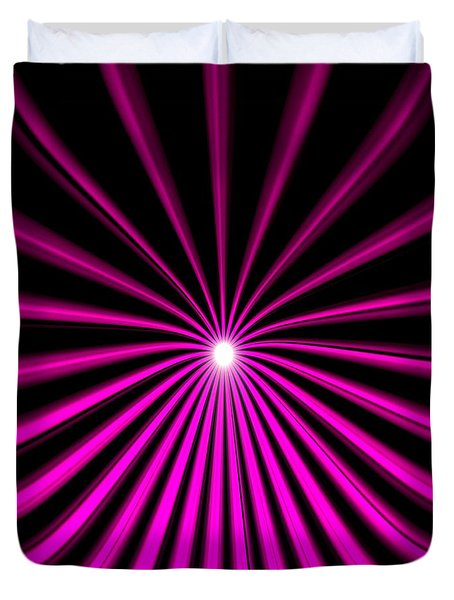 Duvet Cover featuring the drawing Hyperspace Violet Square by Pet Serrano