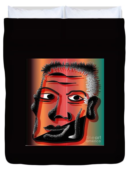 Duvet Cover featuring the digital art I Am Man by Iris Gelbart