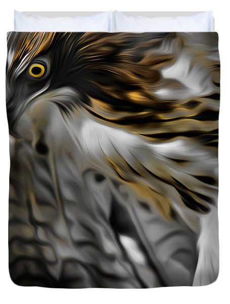 I Am Redtail Square Duvet Cover by Bill Wakeley