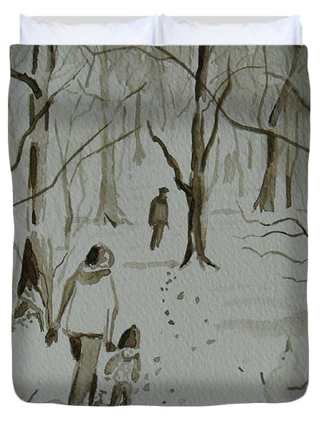 I Am Rich - Monochrome-snow Scene Duvet Cover