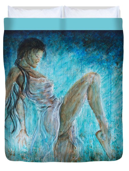 Duvet Cover featuring the painting I Dance Alone by Nik Helbig
