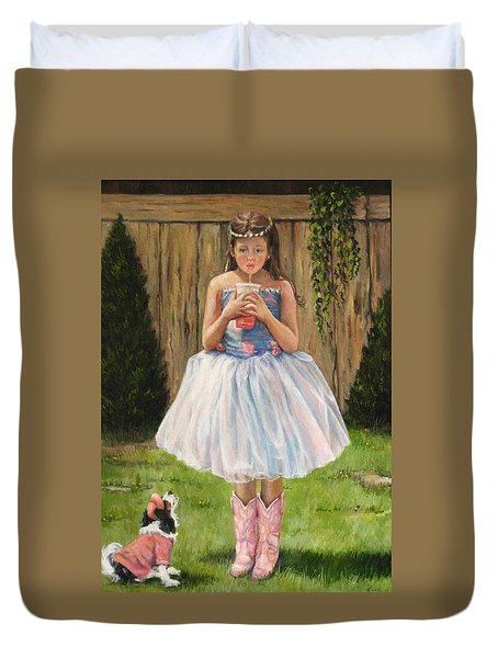Duvet Cover featuring the painting I Dressed Myself by Donna Tucker