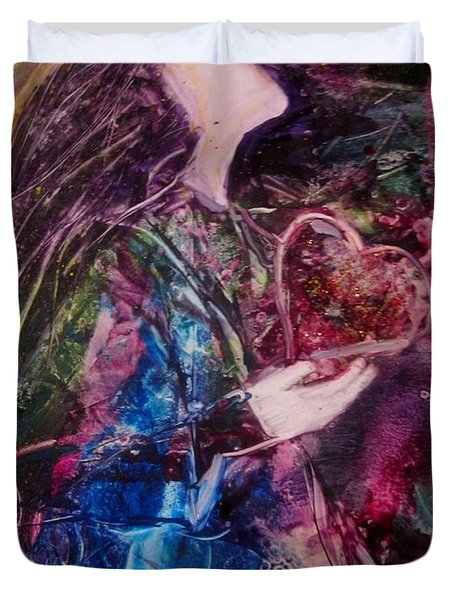 Duvet Cover featuring the painting I Give You My Heart by Deborah Nell