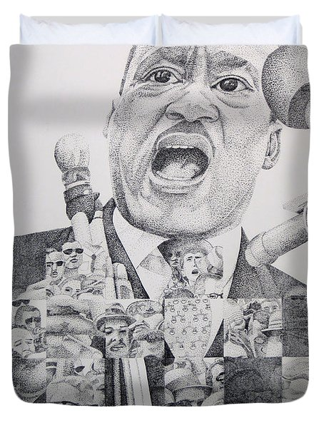 Duvet Cover featuring the drawing I Have A Dream Martin Luther King by Joshua Morton