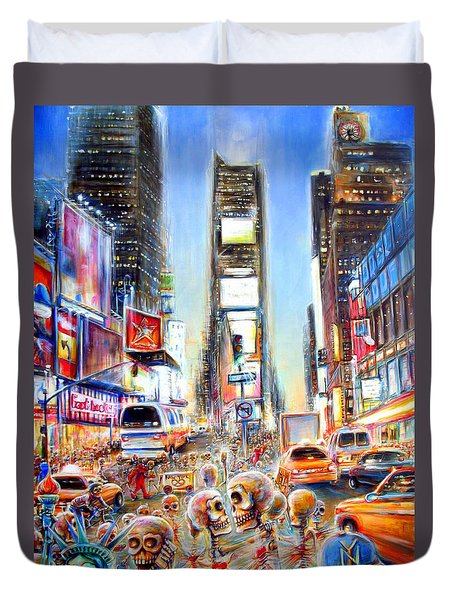 Duvet Cover featuring the painting I Heart Ny by Heather Calderon