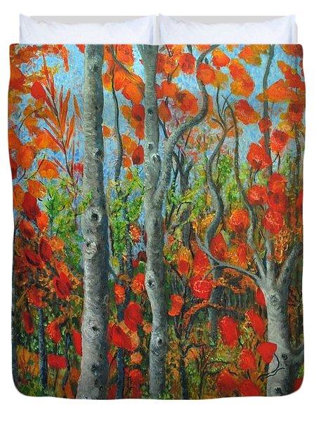 I Love Fall Duvet Cover by Holly Carmichael