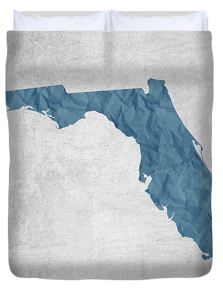 I Love Miami Florida - Blue Duvet Cover by Aged Pixel