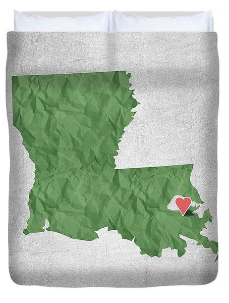 I Love New Orleans Louisiana - Green Duvet Cover