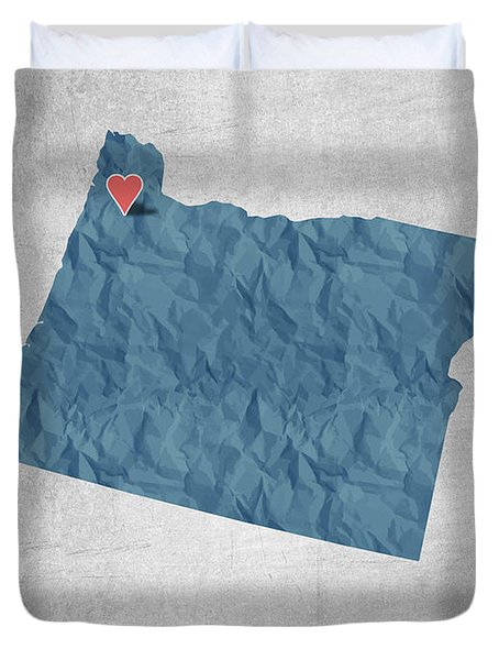 I Love Portland Oregon- Blue Duvet Cover by Aged Pixel