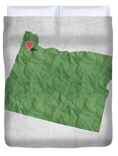 I Love Portland Oregon- Green Duvet Cover by Aged Pixel