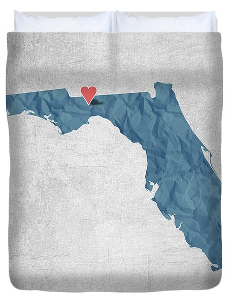 I Love Tallahassee Florida - Blue Duvet Cover by Aged Pixel