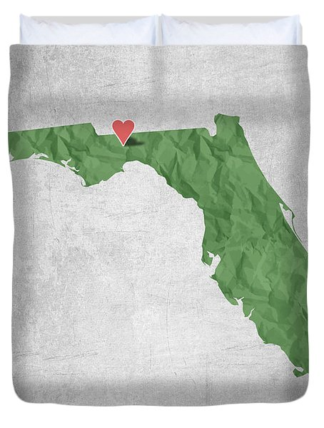 I Love Tallahassee Florida - Green Duvet Cover by Aged Pixel
