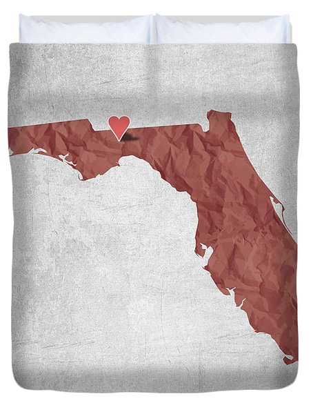 I Love Tallahassee Florida - Red Duvet Cover by Aged Pixel